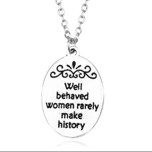 Jewelry - Marilyn Monroe Quote Crown Oval Silver Necklace